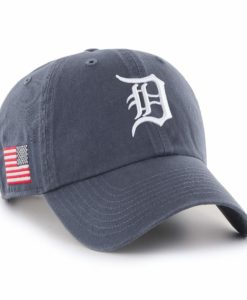 Detroit Tigers 47 Brand Vintage Navy USA Flag Clean Up Hat