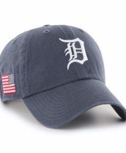 Detroit Tigers 47 Brand Vintage Navy USA Flag Clean Up Hat