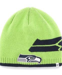 Seattle Seahawks Peaks Beanie Lime 47 Brand Hat