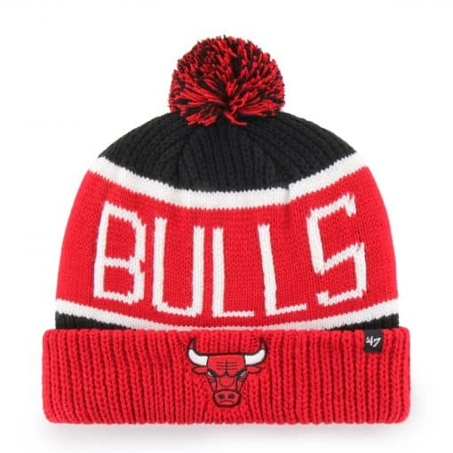 Chicago Bulls 47 Brand Black Red Calgary Cuff Knit Hat