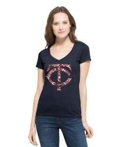 Minnesota Twins Women's 47 Brand Navy Flanker V-Neck T-Shirt Tee