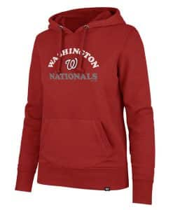 Washington Nationals Women's 47 Brand Glitter Red Headline Pullover Hoodie