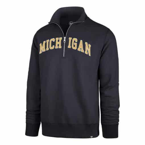 Michigan Wolverines Men's 47 Brand Navy Striker 1/4 Zip Pullover Shirt