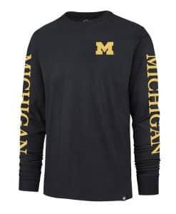 Michigan Wolverines Men's 47 Brand Navy Triple Threat Long Sleeve Shirt
