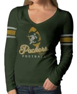 Green Bay Packers Homerun Long Sleeve T-Shirt Womens Bottle Green 47 Brand