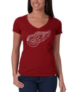 Detroit Red Wings V-Neck Shirt Scrum T-Shirt Womens Rescue Red 47 Brand