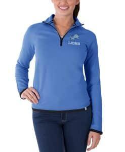 Detroit Lions Showdown Women's 47 Brand Blue 1/4 Zip Pullover Shirt
