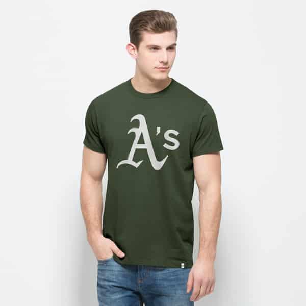 Oakland Athletics All Pro Flanker T-Shirt Mens Bottle Green 47 Brand