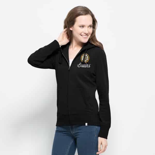Boston Bruins Cross-Check Full Zip Womens Hoodie Jet Black 47 Brand