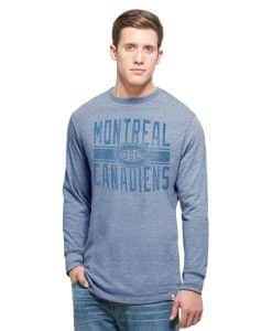 Montreal Canadiens Team Tri-State Long Sleeve T-Shirt Mens Coastal Blue 47 Brand