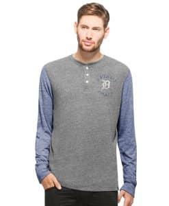 Detroit Tigers Midfield Henley Long Sleeve Shirt Mens Neps Grey 47 Brand