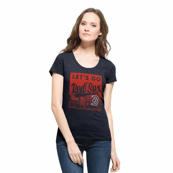 Boston Red Sox Women's 47 Brand Scoop Fall Navy T-Shirt Tee