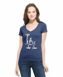 Los Angeles Dodgers Women's Bleacher Blue Crosstown V-Neck Shirt Tee