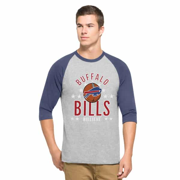 Buffalo Bills Men's 47 Brand Lockdown Raglan 3/4 Sleeve T-Shirt Tee