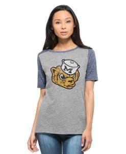 Michigan Wolverines 47 Brand Womens Vintage Grey Empire T-Shirt