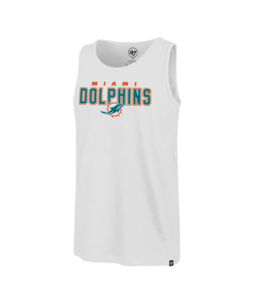 Miami Dolphins Men's 47 Brand White Wash Splitter Tank Top