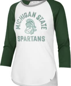 Michigan State Spartans Women's 47 Brand White Raglan Long Sleeve T-Shirt Tee