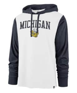 Michigan Wolverines Men's 47 Brand White Hoodie Pullover Long Sleeve Tee