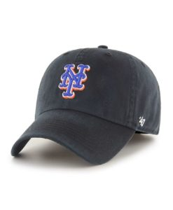 New York Mets 47 Brand Black Franchise Fitted Hat