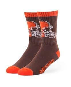 Cleveland Browns LARGE Bolt Sport Socks Brown 47 Brand