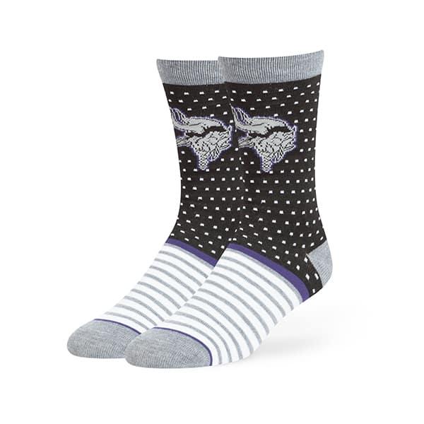 Minnesota Vikings Willard Flat Knit Socks Black 47 Brand
