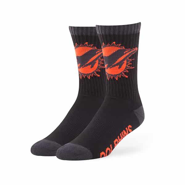 Miami Dolphins Warrant Sport Socks Black 47 Brand