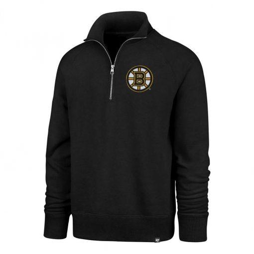 Boston Bruins Men's 47 Brand Black Headline 1/4 Zip Pullover Shirt