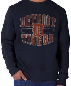 Detroit Tigers 47 Brand Navy Cross Check Crew Long Sleeve Shirt