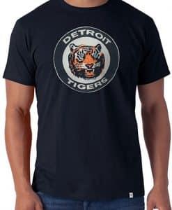Detroit Tigers Men's 47 Brand Stitched Vintage Classic Logo Navy Tee T-Shirt