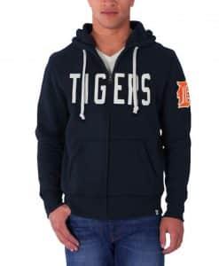 Detroit Tigers 47 Brand Mens Cross Check Full Zip Hoodie
