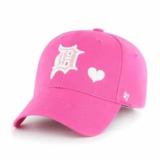 Detroit Tigers 47 Brand Bright Pink Girls KIDS Adjustable Hat