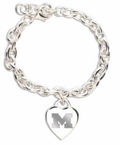 Michigan Wolverines Heart Charm Bracelet