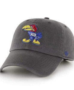 Kansas Jayhawks 47 Brand Clean Up Charcoal Adjustable Hat