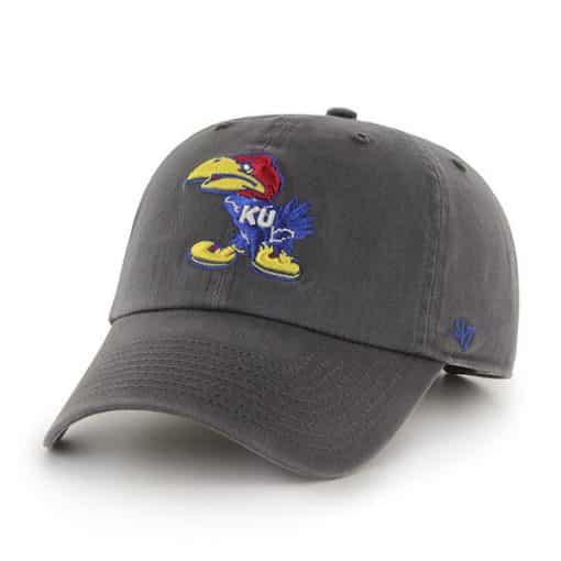 Kansas Jayhawks 47 Brand Clean Up Charcoal Adjustable Hat