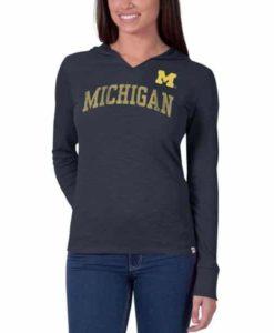 Michigan Wolverines Women's 47 Brand Navy Primetime Hoodie