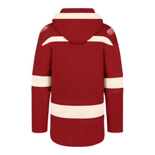 Detroit Red Wings Women's 47 Brand Red Pullover Jersey Hoodie Back
