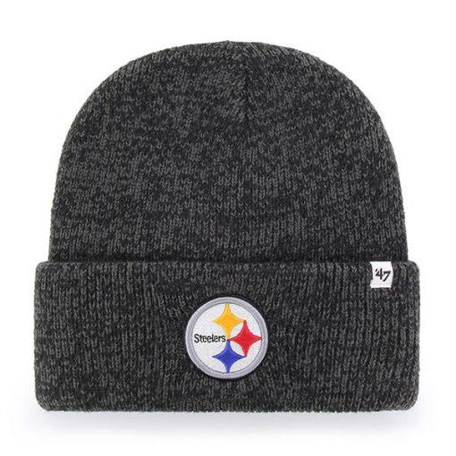 Pittsburgh Steelers 47 Brand Brain Freeze Black Gray Cuff Knit Hat
