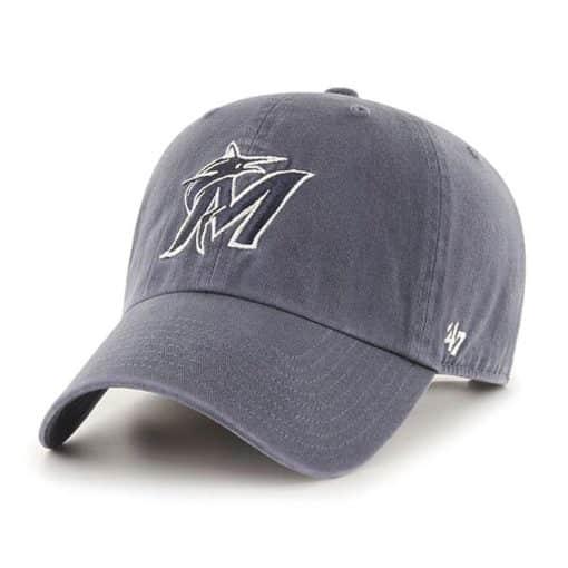 Miami Marlins 47 Brand Vintage Navy Clean Up Adjustable Hat