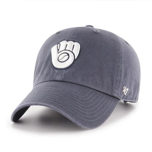 Milwaukee Brewers 47 Brand Vintage Navy Clean Up Adjustable Hat