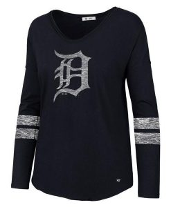 Detroit Tigers Women's 47 Brand Faded Navy Long Sleeve Tee T-Shirt