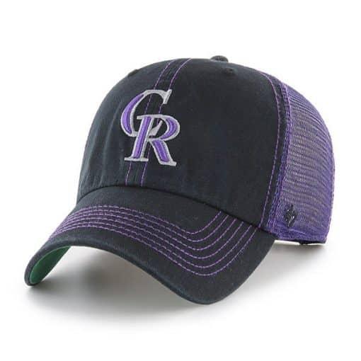 Colorado Rockies 47 Brand Trawler Black Purple Clean Up Adjustable Hat