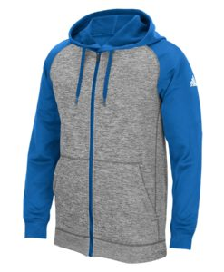 Men's Adidas Gray Heathered Blue Tech Fleece Full Zip Hoodie