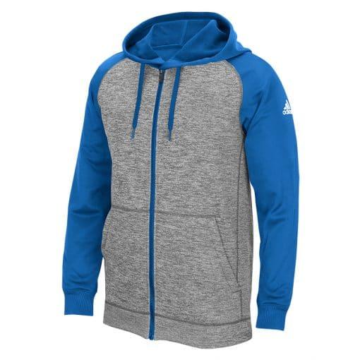 Men's Adidas Gray Heathered Blue Tech Fleece Full Zip Hoodie