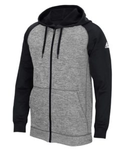 Men's Adidas Gray Heathered Black Tech Fleece Full Zip Hoodie