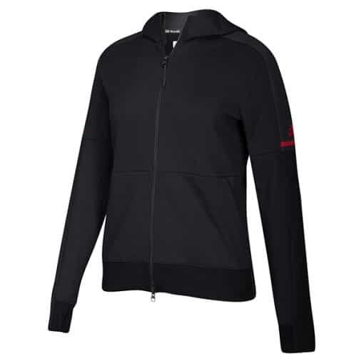 Women's Adidas Black Full Zip Hoodie With Red Logo
