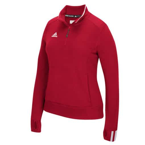 Women's Adidas Red Climalite 1/4 Zip Pullover
