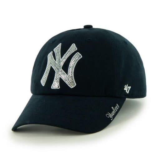 New York Yankees Women's 47 Brand Sparkle Navy Clean Up Adjustable Hat