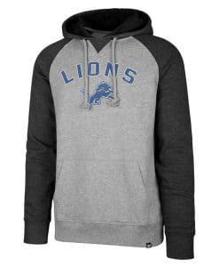 Detroit Lions 47 Brand Men's Gray Raglan Pullover Hoodie