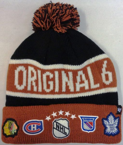 Original Six 47 Brand Black Calgary Cuff Knit Beanie Hat
