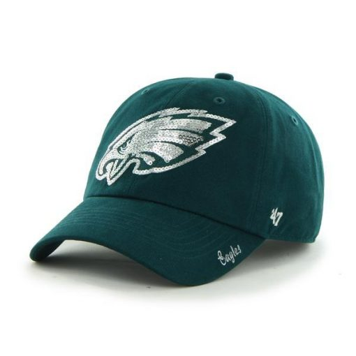 Philadelphia Eagles 47 Brand Women's Sparkle Green Team Color Clean Up Hat
